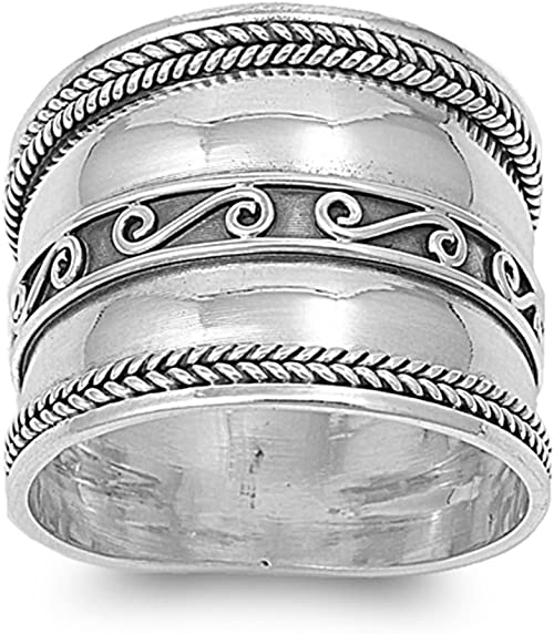 Bali Swirl Oxidized Wide Polished Thumb Ring 925 Sterling Silver Band Sizes 5-12