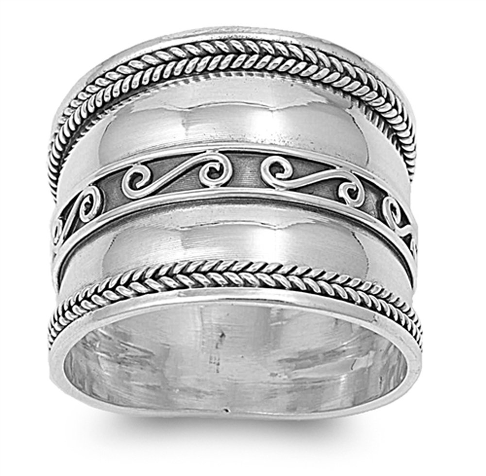 Bali Braid Swirl Wide Polished Thumb Ring .925 Sterling Silver Band Size 9