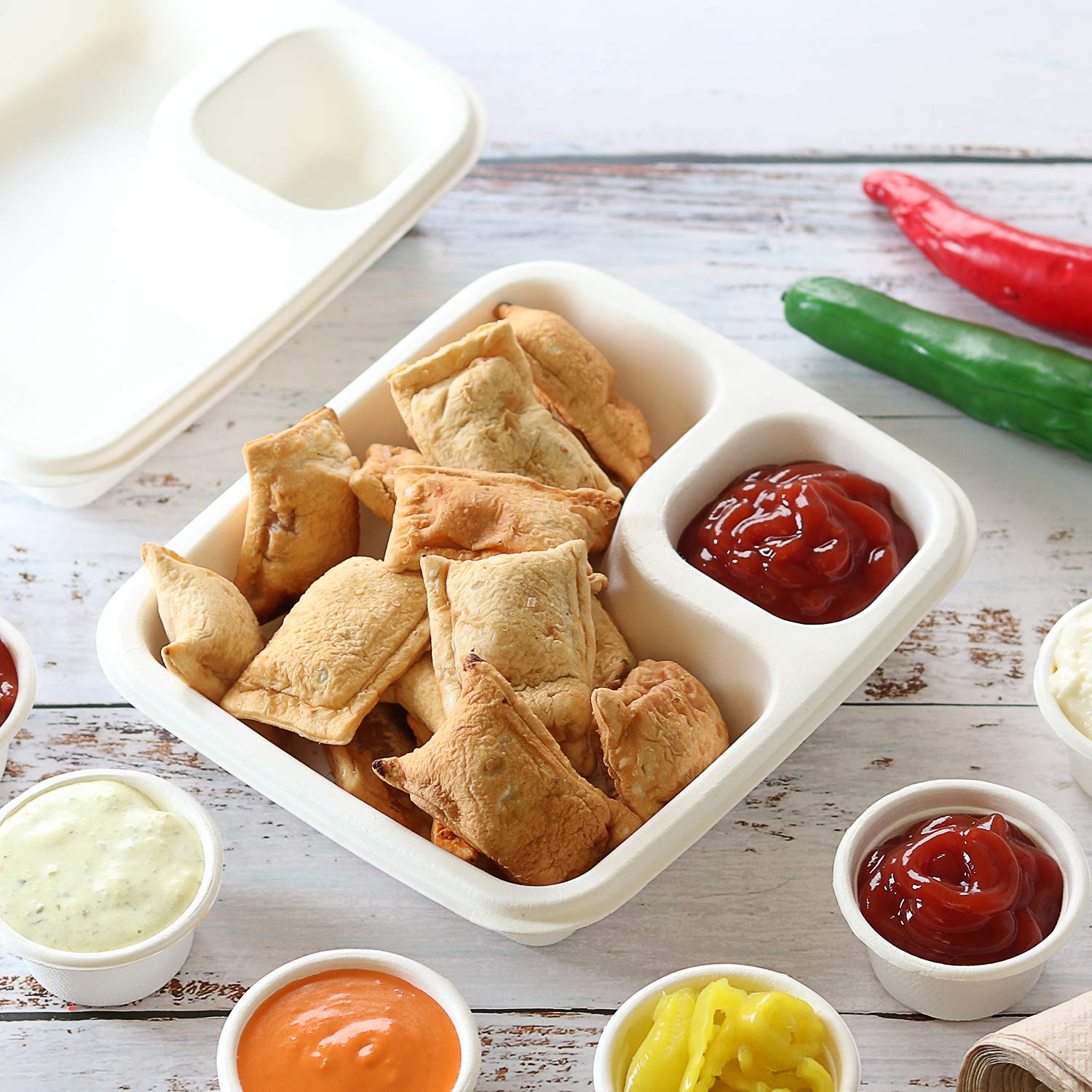 2 oz Compostable Biodegradable Portion Cups Leak Proof Disposable Souffle Cup Condiment Sauce Containers 100 Pack