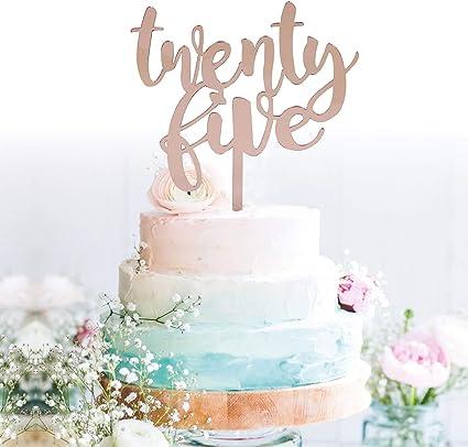 Pleasing Amazon Com Grantparty Twenty Five Rose Gold Cake Topper 25Th Birthday Cards Printable Nowaargucafe Filternl