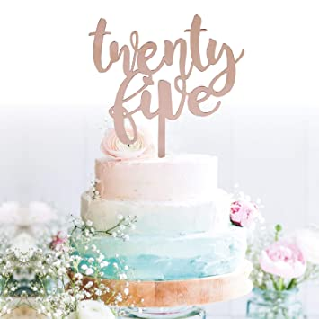 Amazon Com Grantparty Twenty Five Rose Gold Cake Topper 25th