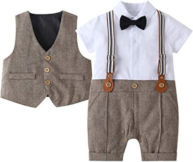 4PCS BABY BOY FORMAL PARTY WEDDING TUXEDO WAISTCOAT BOW TIE OUTFIT SUIT STRICT