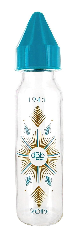 dBb Remond Biberon Verre au Motif Art Déco Forme Cylindrique Bleu Canard 240 ml SEBBE 102628