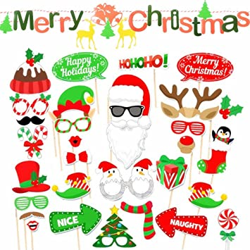 Merry Christmas Banner Banderines Navidad + Pack Photo Booth 32pcs ...