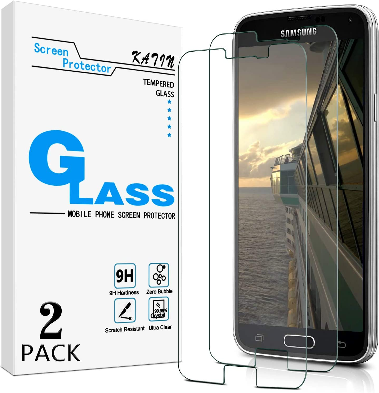 [2-Pack] KATIN For Samsung Galaxy S5 Tempered Glass Screen Protector No-Bubble, 9H Hardness, Easy to Install