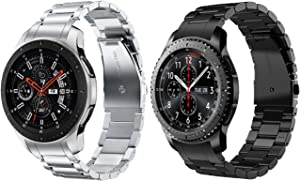 V-MORO No Gaps Metal Strap Compatible with Galaxy Watch 46mm Bands/Gear S3 Frontier Band with Clips Men Solid Stainless Steel Bracelet for Samsung Galaxy Watch 46mm R800/Gear S3 Smartwatch