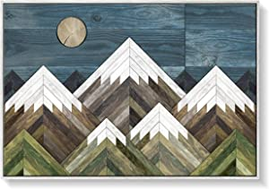 Rustic Modern Farmhouse Canvas Geometric Large Living Room Bedroom Wall Art Mountain Home Dècor 36x24 Hi-Res Print in White Woodgrain Frame Ready to Hang