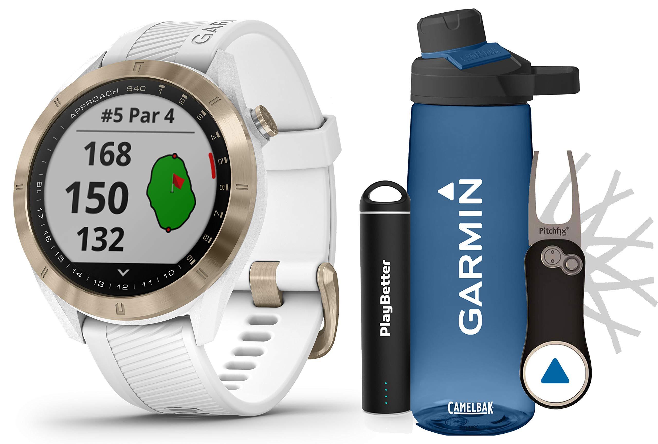 Garmin Approach S40 (Rose Gold) Golf GPS Smartwatch Premium Gift Set Bundle   +HD Screen Protectors, Garmin/PlayBetter Premium Water Bottle, Pitchfix Divot Tool & Portable Charger   41,000+ Courses
