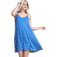 JJ Perfection Women's Loose Fit Thin Strap Flared Dress Babyblue