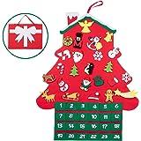 T98 クリスマス 壁掛け 飾り カウントダウン アドベントカレンダー デコレーション 布絵本 フェルトクリスマス ツリー タペストリー クリスマスカレンダー オーナメント 24個入りセット (ハウス)
