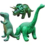 3 Pieces of Inflatable Dinosaurs Brachiosaurus(Set of 3,Including Brachiosaurus,Pteranodon,T-Rex),Large Inflatable Animals Toys for Indoor and Outdoor Play