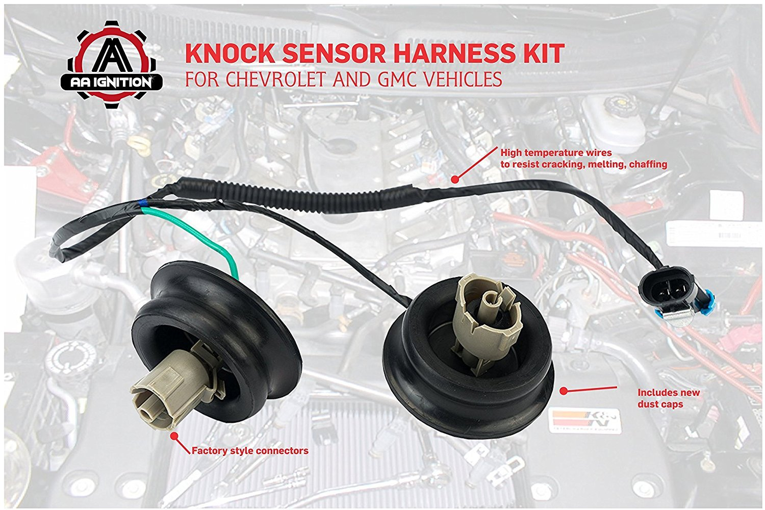 Knock Sensor Wire Harness Kit Replaces 12601822 917 033 1999 Silverado Wiring Routing Fits Chevy Suburban Chevrolet Avalanche Tahoe Gmc Sierra Yukon