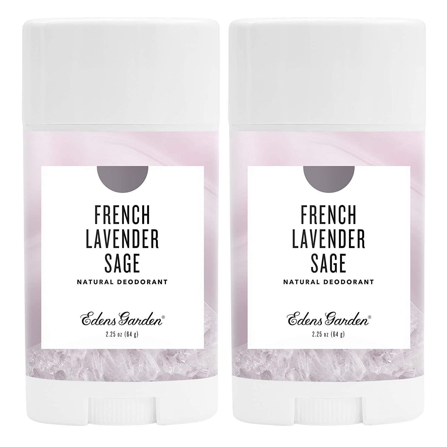 Edens Garden French Lavender Sage Natural Deodorant, Aluminum & Baking Soda Free (For Normal & Sensitive Skin), Made With Essential Oils, Vegan, For Men & Women, 2.25 oz Value Pack