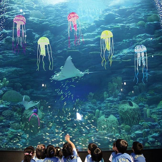 UEETEK 6 piezas de efecto incandescente decoración de medusas artificiales para el tanque de pescado realista falso medusas acuario ornamento