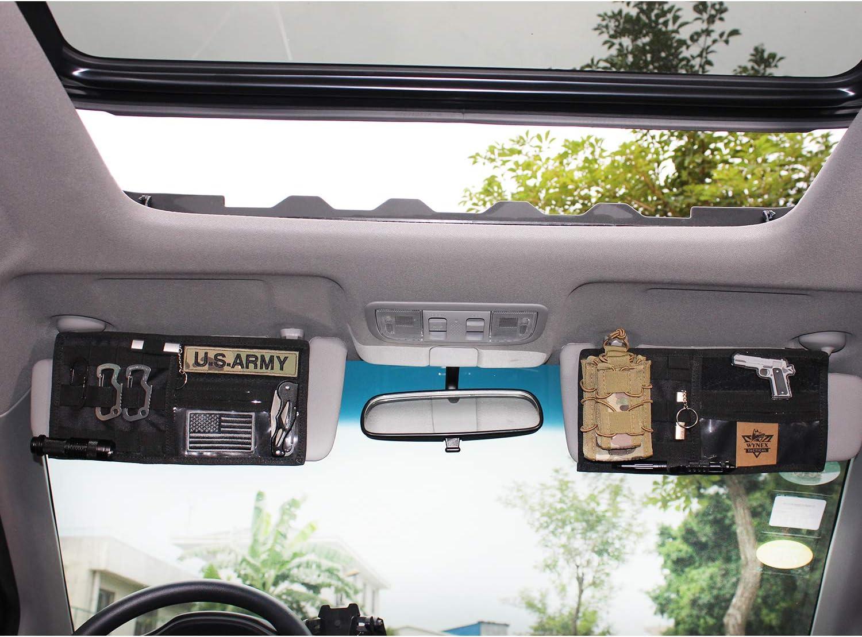 Wynex Molle Visier Panel Organizer Tactical Car Sonnenblende Abdeckung Molle Gurtband Kompatible Fahrzeugvisier Aufbewahrungshalter Tasche Auto