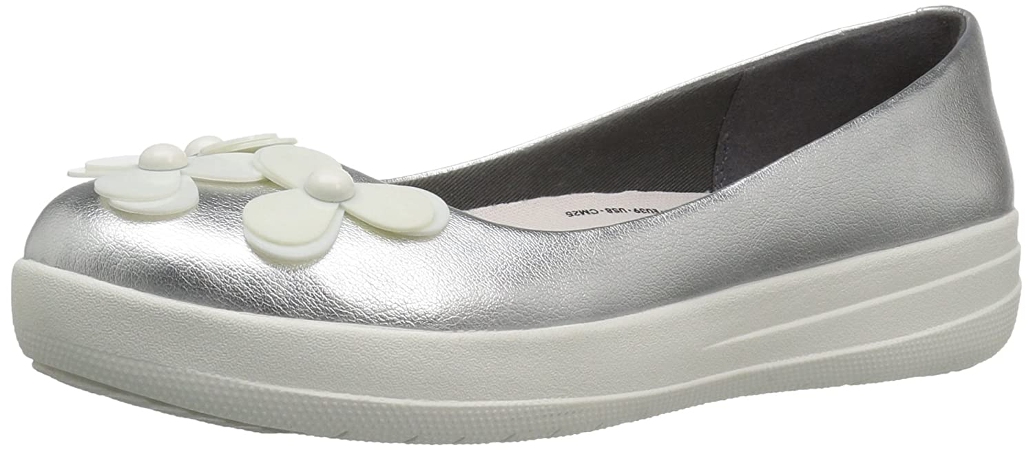 FitFlop Womens F-Sporty Flower Ballerina Ballet Flat Shoes B01A75BVLE 9 B(M) US|Silver