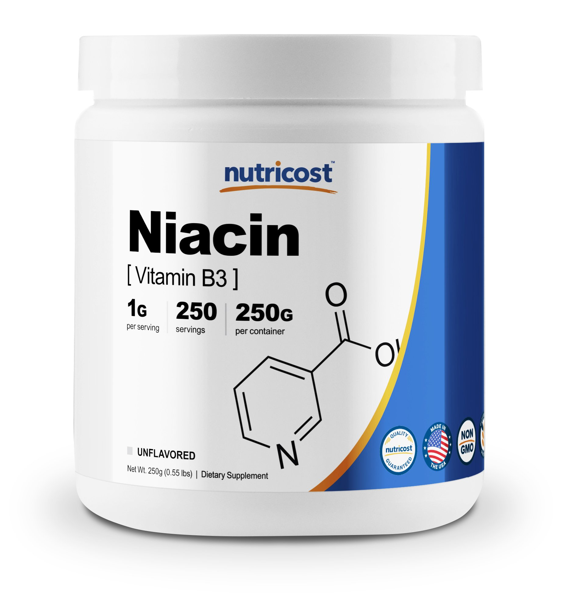 Nutricost Niacin Vitamin B3 Powder 250 Grams - 1G Per Serving - Pure, High Quality Vitamin B3 Powder