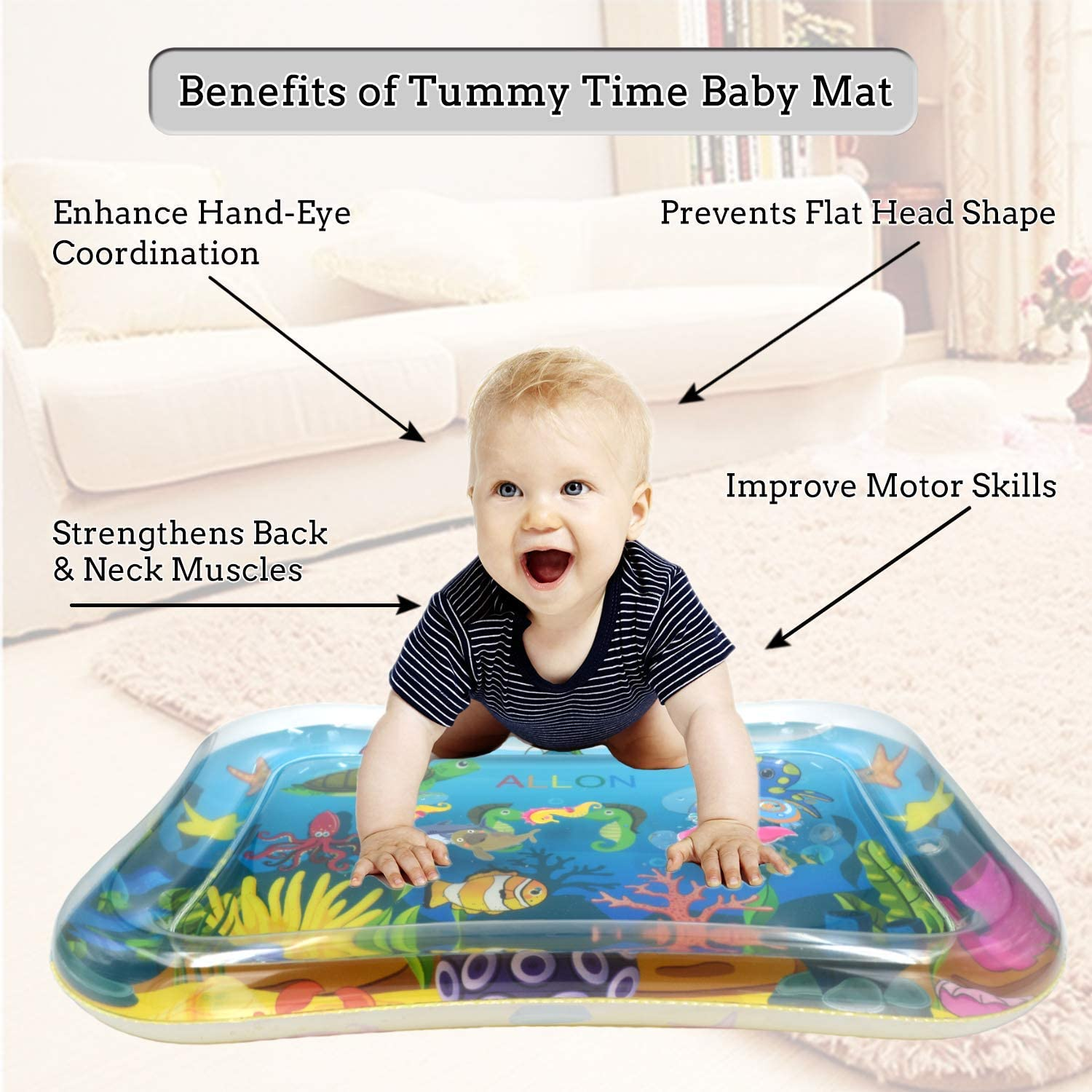 ALLON Tummy Time Baby Water Play Mat Best Activity Centers Baby Sensory Toys for 3 6 9 Months Leakproof Inflatable Play Mats for Infants /& Toddlers