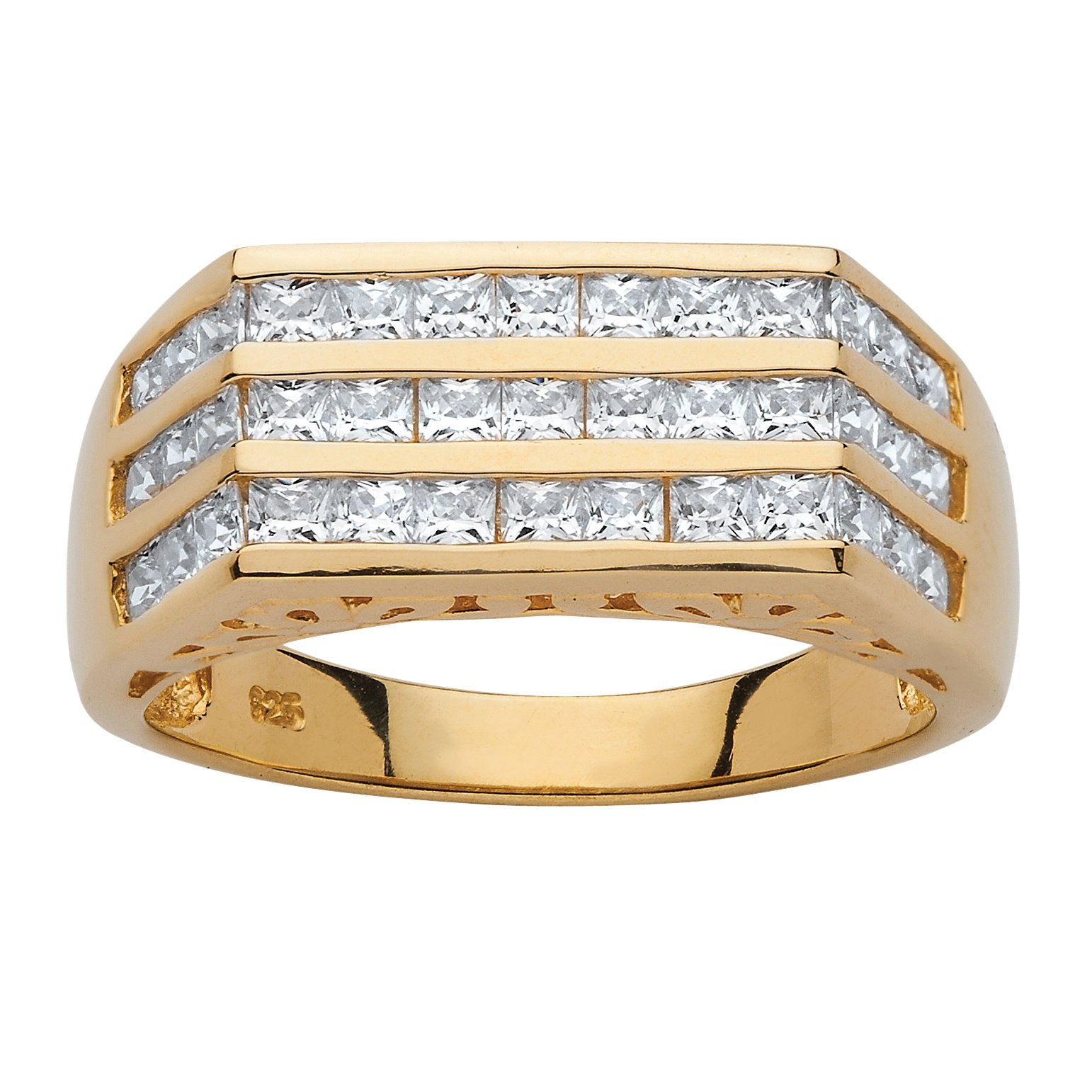 Men's Square-Cut White Cubic Zirconia 14k Gold over .925 Sterling Silver Triple Row Ring Size 11