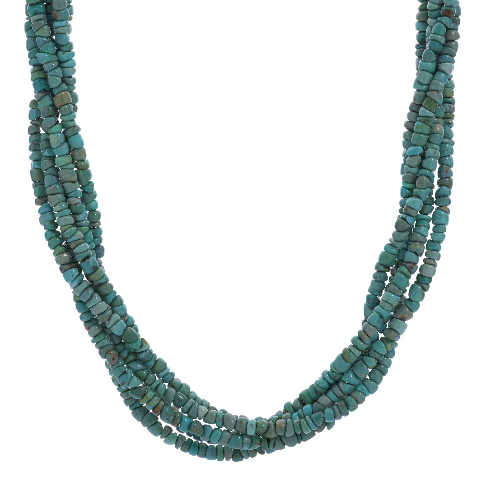 American West Brass Green Turquoise Gemstone Bead 5-Strand Necklace 17 Inch
