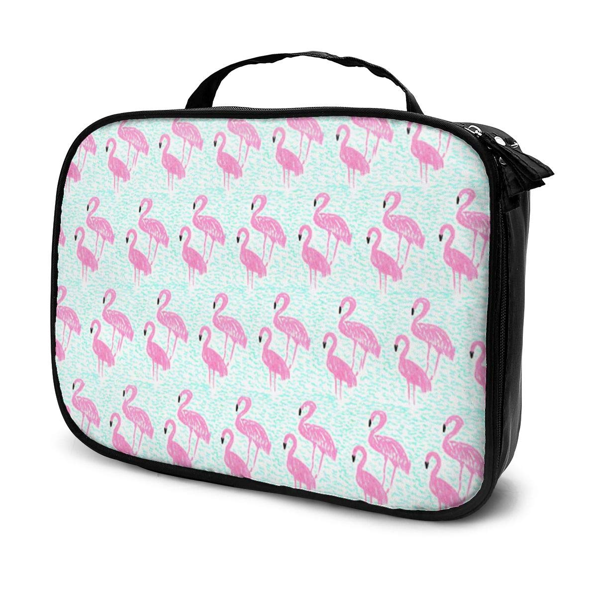 YongColer Women Pink Seamless Flamingos Make Up Bag Organizer Multifunction Cosmetic Train Case Lazy Zipper Tote Bag Large Capacity for Makeup Brushes Digital Accessories Travel