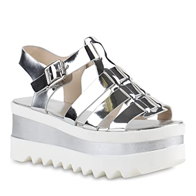 738b36d3703eda Funky Damen Plateau Sandaletten Lack Metallic Profilsohle Schuhe 140521  Silber Brito 38 Flandell