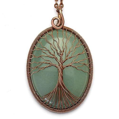 Amazon Com Green Jade Tree Of Life Necklace Pendant Handmade