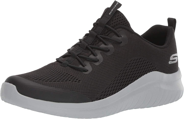 Skechers Ultra Flex 2.0 Kelmer Trainers voor heren Blauw (Black Engineered Mesh/Synthetic/Gray Trim Bkgy).
