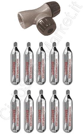 Boquilla dispensadora + 10 bombonas de CO2 de aire comprimido para hinchar las ruedas de la bicicleta. Carrera: Amazon.es: Deportes y aire libre