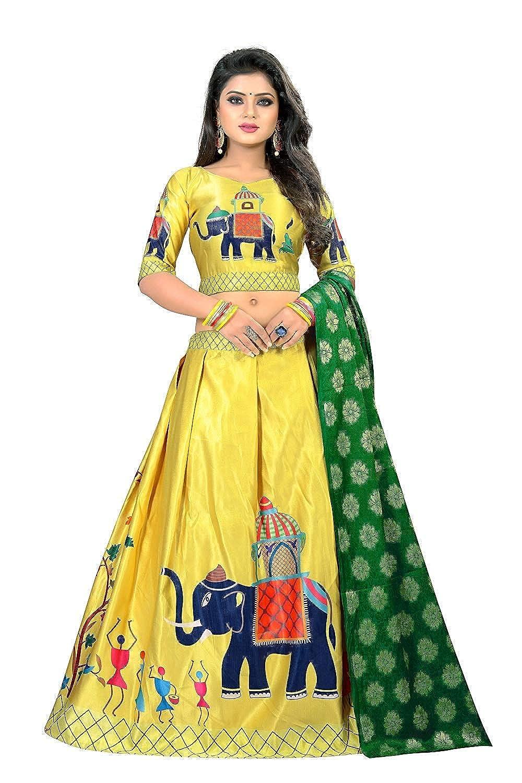 Alazra Creation Heavy Jari Digital Printed Lehengha Choli(Yellow Elephant)