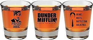 The Office Merchandise Shot Glass Gift Set - Prison Mike, Dunder Mifflin, Bears Beets Battlestar Galactica - The Office Gifts For Men And Women