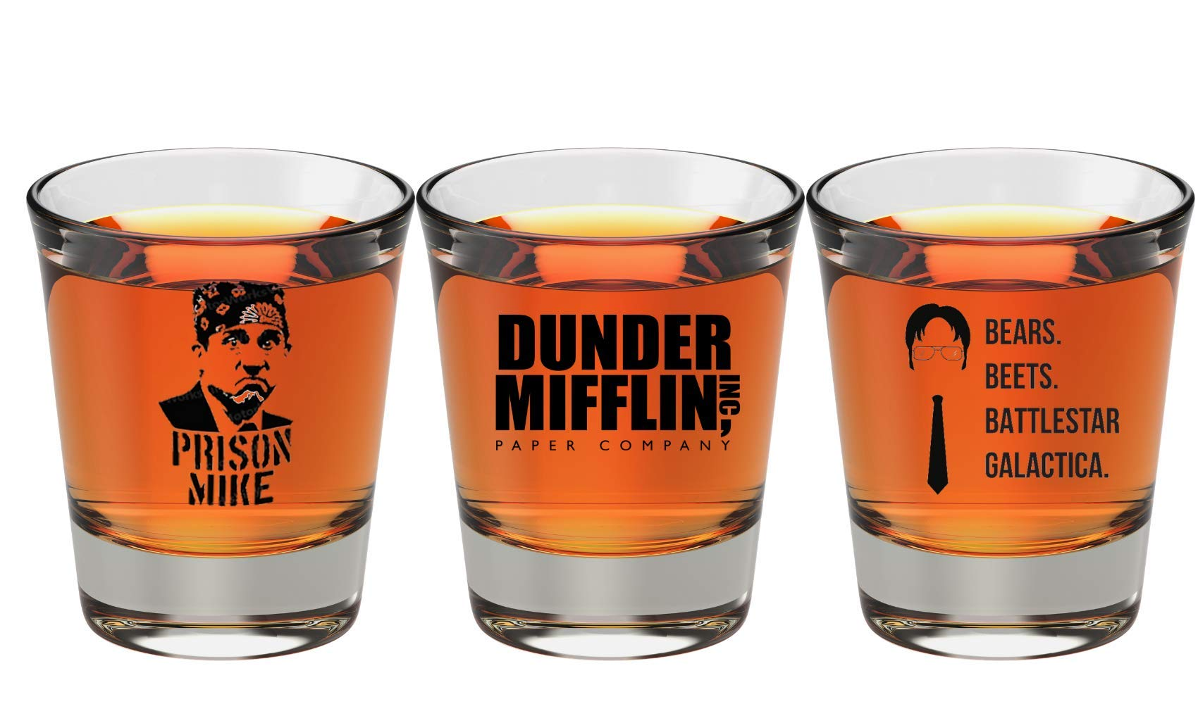 The Office Merchandise Shot Glass Gift Set - Prison Mike, Dunder Mifflin, Bears Beets Battlestar Galactica - The Office Gifts For Men And Women