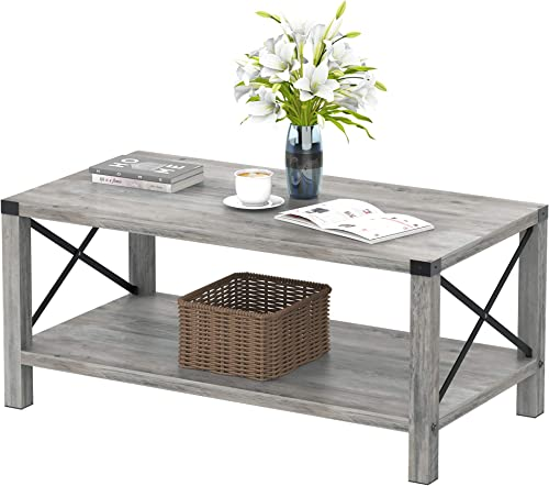 IDEALHOUSE Rustic Coffee Table,Farmhouse Accent Cocktail Table Storage Shelf