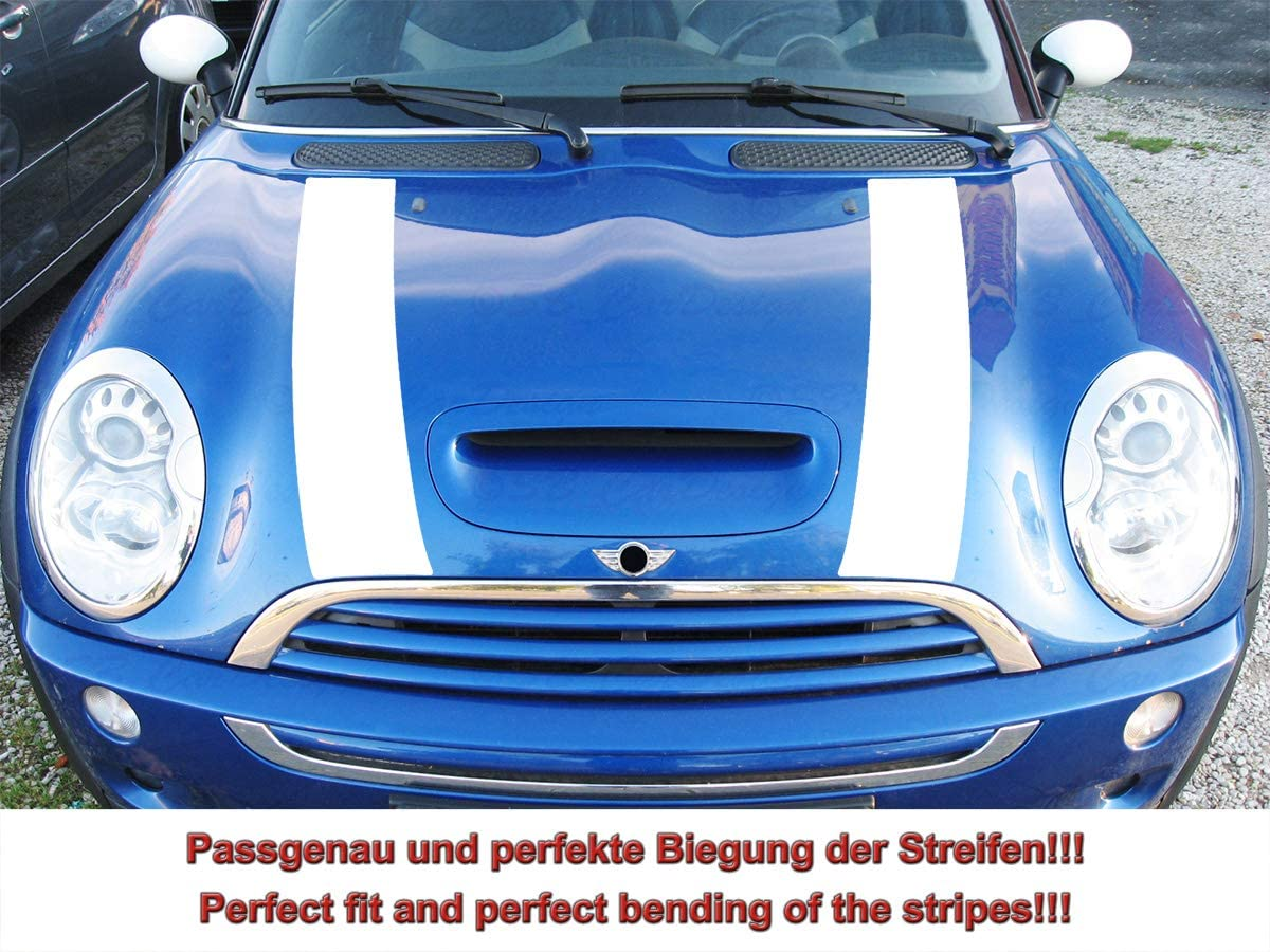 Streifen Stripes Aufkleber Motorhaube Für R52 R53 S Modell Mini Cooper Weiss Design 1 Auto