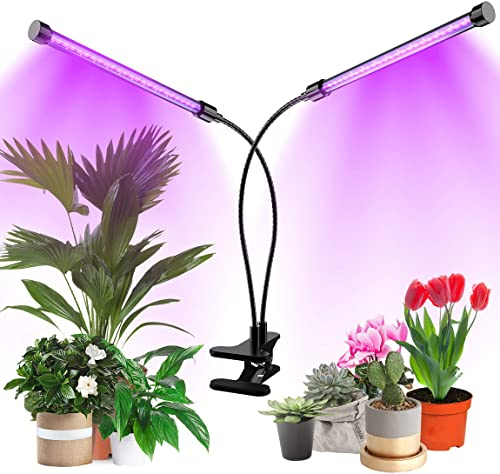 Plant Grow Light, LED Growing Lamp for Indoor Plants Red Blue Spectrum, Indoor Plant Lights for Seedlings with Dual Heads, 3 Modes Timing 3 6 12 Hours , Brightness Adjustable Setting