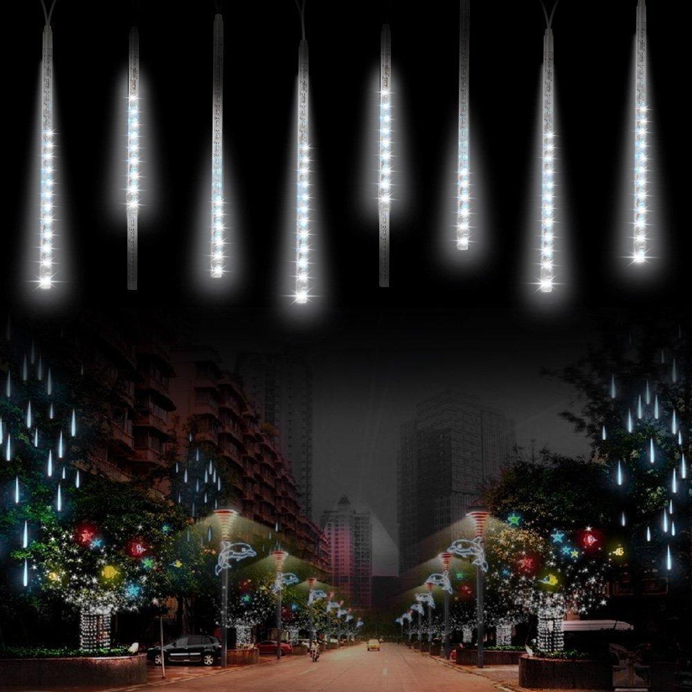 ABelle Guirlandes Lumineuse 8 Tubes 30CM LED Météore Guirlandes Lumineuse Etanche LED Météore Pour Mariage Fête Soirée Maison Arbre Sapin Jardin de Noël Parti Xmas Arbre(Blanc) [Classe énergétique A+]