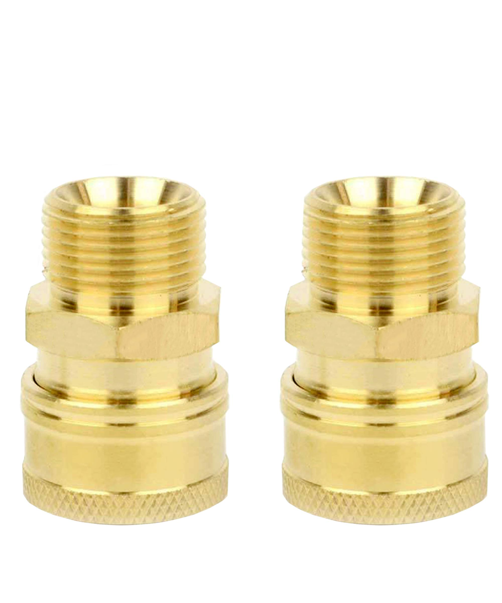 Pressure Washer Quick Connect Brass Pressure Washer Coupler 2 Pack M22 Male 2700 PSI Pressure Washer Hose Adapter Quick Disconnect Water Hose Fittings Pressure Washer Fittings Super-Deal-Shop by Pneumatics