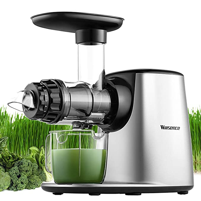 Masticating Juicer,Willsence Slow Juice Extractor, Nutrition Master Clod Press Juicer Machine with Reverse Function, Fruits and Vegetable Pulpfresh System with BPA Free Dishwasher Parts