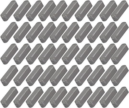 sourcing map 14mmx4mmx4mm acier carbone clavette barre clavette 50pcs gris