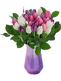 Stargazer Barn - The Duchess Bouquet - 2 Dozen Assorted Tulips With Vase - Farm Fresh, Purple, Pink, White