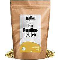 Kamillen-Blüten Tee (Bio, 250g) - Hochwertigste ganze Bio-Kamillenblüten - Bio-Kamillen-Tee - Kamillen-Bad - wiederverschließbarer Zip-beutel - Abgefüllt und kontrolliert in Deutschland (DE-ÖKO-005)