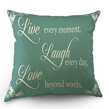 Amazoncom Moslion Live Laugh Love Quote Pillows Decorative Throw