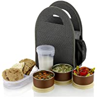 Atman Stainless Steel 3 Container & 1 Caserolles Set with Plastic Bottle Lunch Box Tiffin Set with Bag for Office
