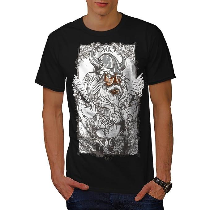 Wellcoda | Vikingo Guerrero Cara nórdico Vida hombre Nuevo Negro Camiseta 3XL: Amazon.es: Ropa y accesorios