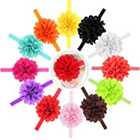 """Qandsweet Baby Girl's Headbands Chiffon Hair Bow (12pack with 0.7"""" Band)"""