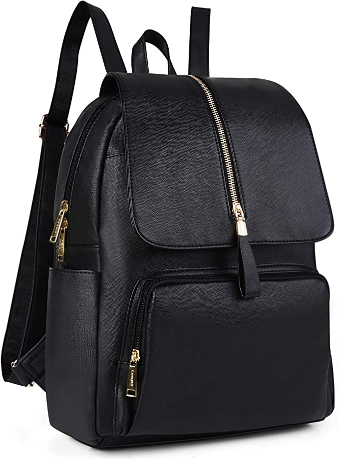 COOFIT Sac a dos femme Sac a dos college fille Cartable fille college Sac a dos Cuir synthétique Cartable femme Sac dos ville Sac main dos (Noir)