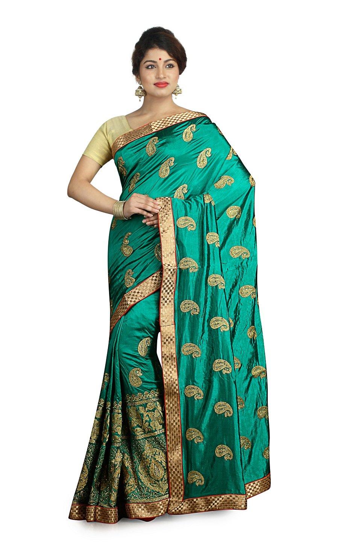 Indian Ethnic Raw Silk Dark Green Fancy Saree