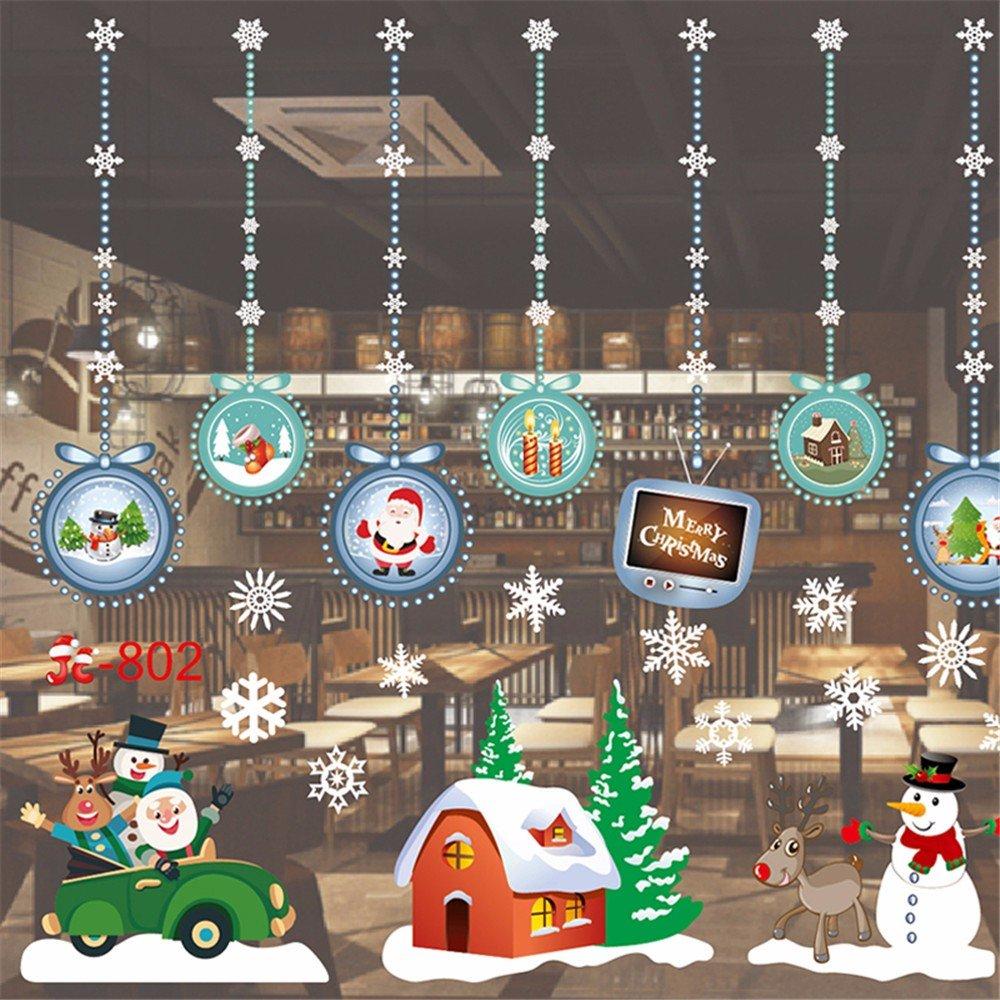New Year Christmas Snowflake Glass Sticker Christmas Ornament Window Cover Sticker Cloth Window Shop Shop Wall Sticker 55x38cm,002