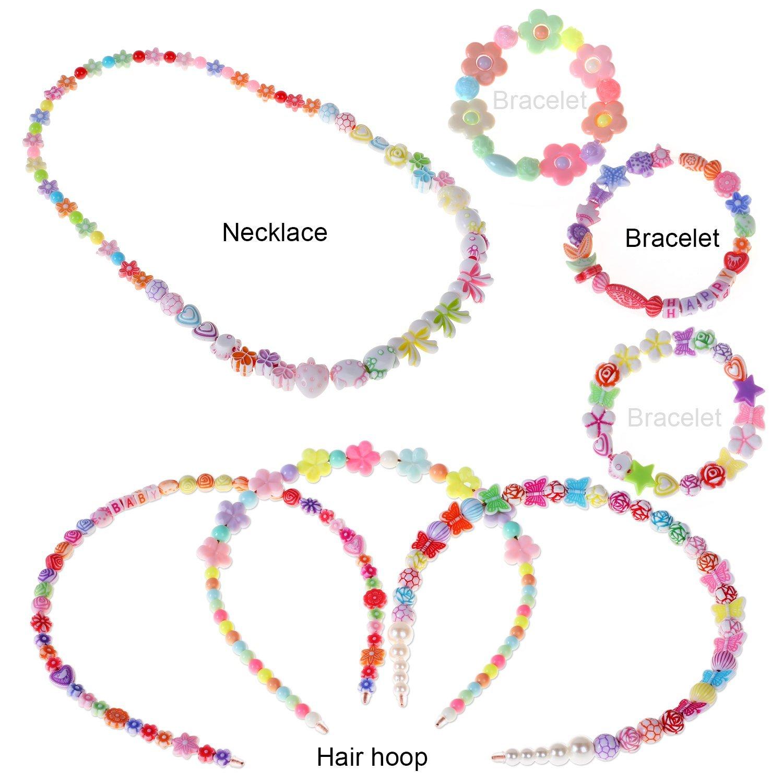 500pcs DIY Armb/änder Halsketten Perlen f/ür Schmuckherstellung f/ür Kinder Bead Halskette Armband Phogary Kinder DIY Perlen Set Kit als Perlen Geschenk-Kit f/ür M/ädchen