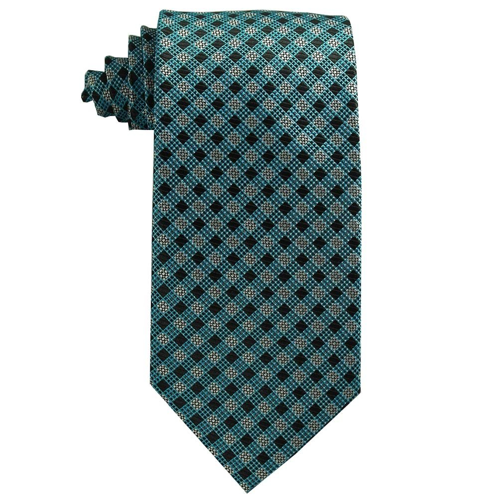 Youth Tie (Age 8-14 years old) Teal and Black Plaid Tie for boys age 8-14 Youth 348